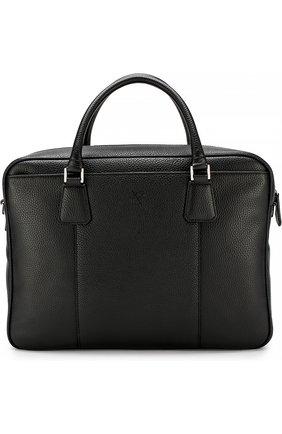 Кожаная сумка для ноутбука с плечевым ремнем Canali черная | Фото №1