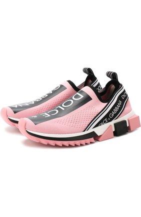 Женские текстильные кроссовки sorrento DOLCE & GABBANA розового цвета, арт. CK1595/AH677 | Фото 1