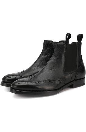 Мужские кожаные челси в брогированием H`D`S`N BARACCO черного цвета, арт. 58500.0* | Фото 1