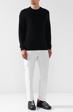 Кожаные кеды без шнуровки Zegna Couture темно-синие | Фото №1