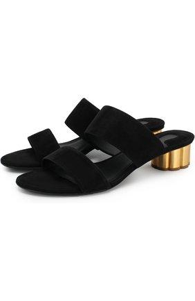 Замшевые мюли Belluno на фигурном каблуке Salvatore Ferragamo черные | Фото №1