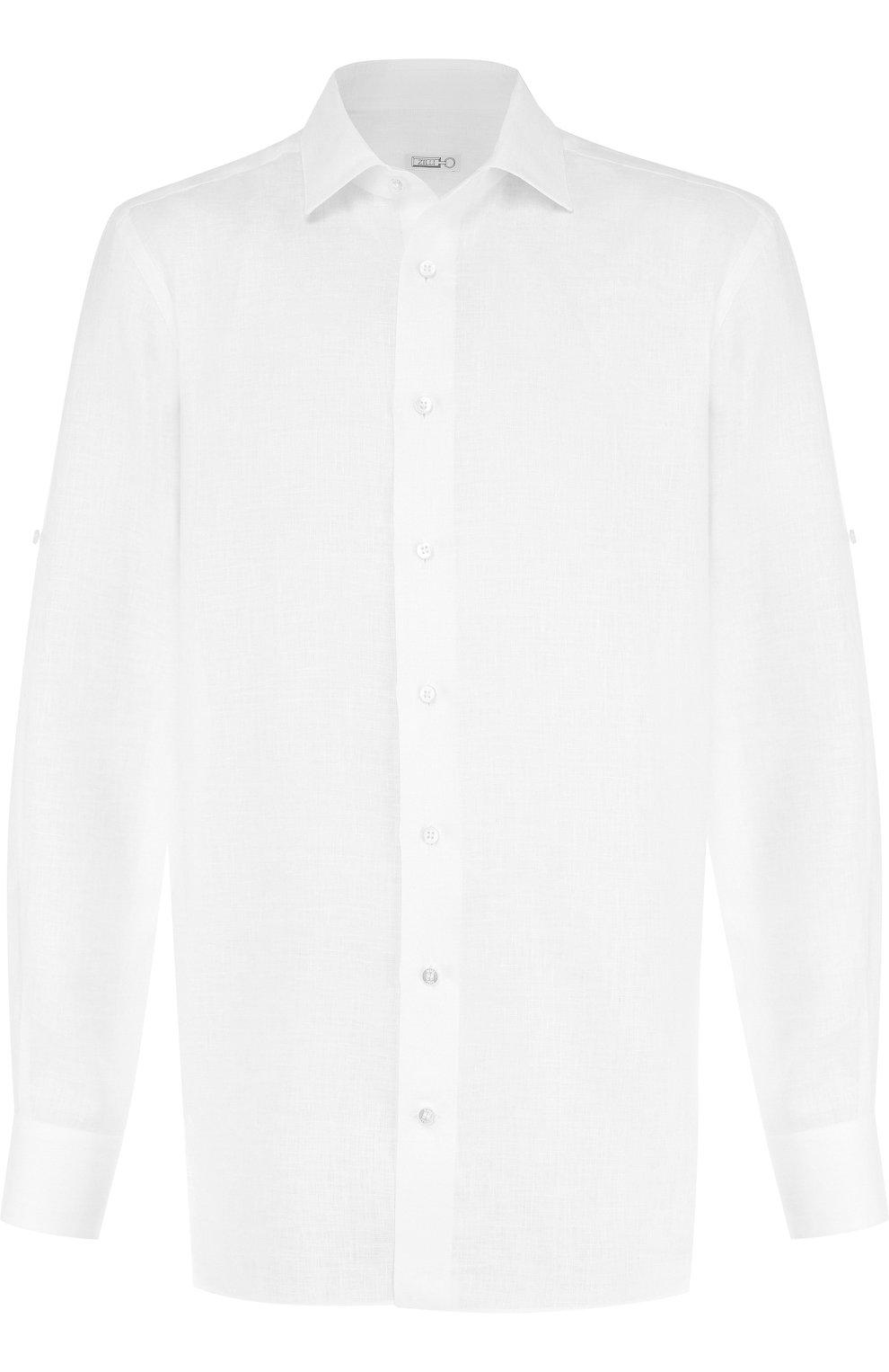 Мужская льняная сорочка с воротником кент ZILLI белого цвета, арт. MFP-MERCU-17092/0003 | Фото 1