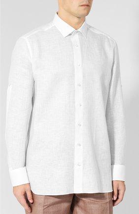 Мужская льняная сорочка с воротником кент ZILLI белого цвета, арт. MFP-MERCU-17092/0003 | Фото 3