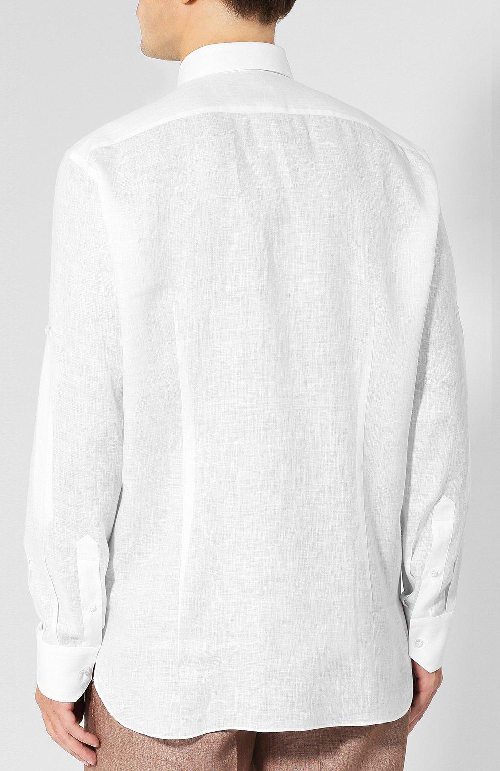 Мужская льняная сорочка с воротником кент ZILLI белого цвета, арт. MFP-MERCU-17092/0003 | Фото 4