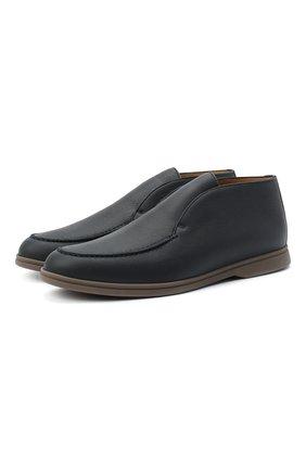 Мужские кожаные ботинки open walk LORO PIANA темно-синего цвета, арт. FAI3349 | Фото 1