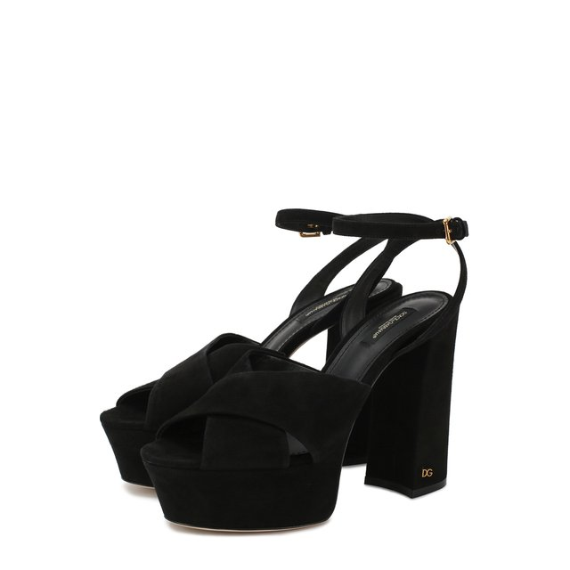 Замшевые босоножки Keira на устойчивом каблуке и платформе Dolce & Gabbana