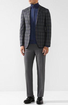 Однобортный шерстяной пиджак Canali светло-серый | Фото №1