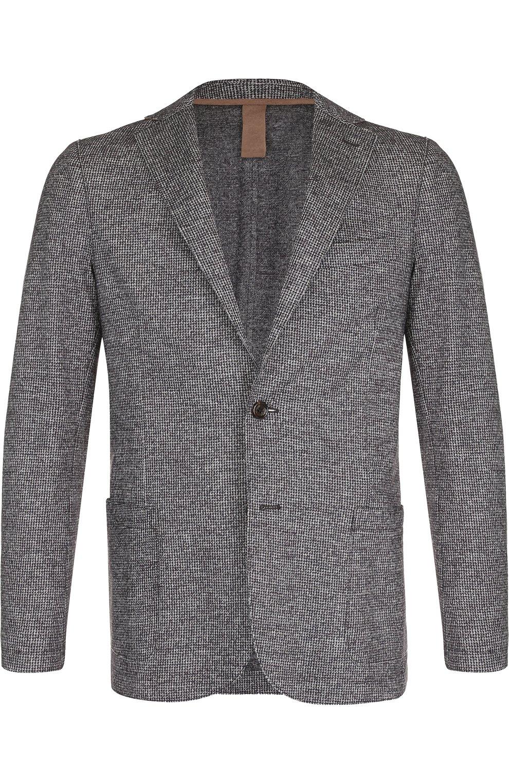 Мужской однобортный пиджак из смеси шерсти и хлопка ELEVENTY UOMO серого цвета, арт. 979JA3001 JAC26057   Фото 1