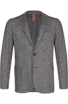 Мужской однобортный пиджак из смеси шерсти и хлопка ELEVENTY UOMO серого цвета, арт. 979JA3001 JAC26057 | Фото 1