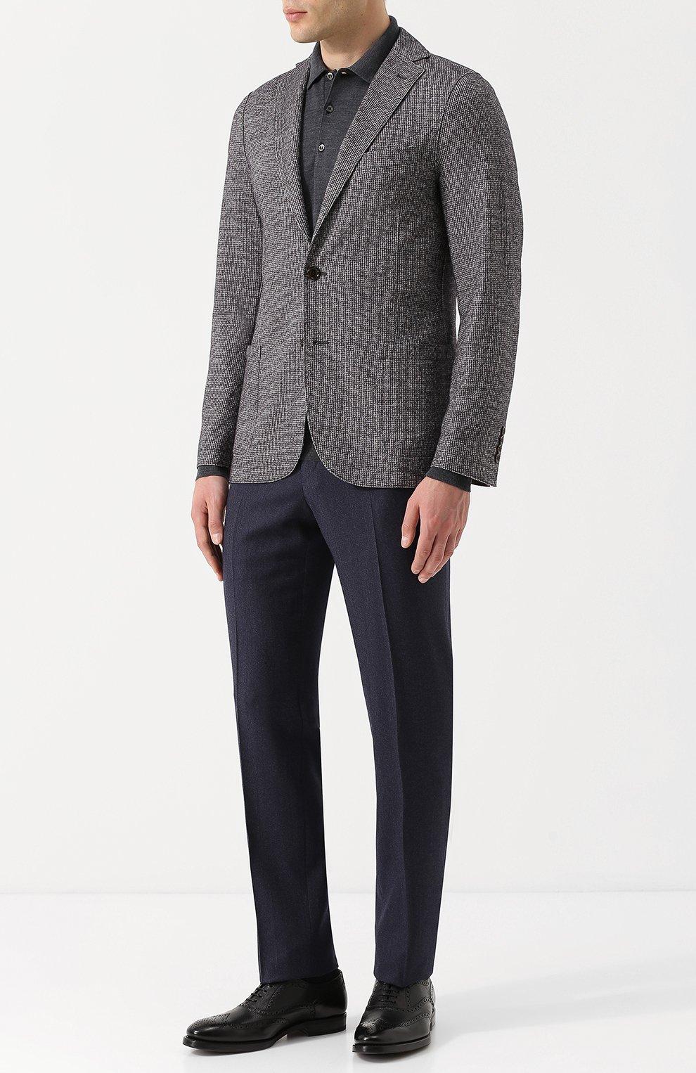 Мужской однобортный пиджак из смеси шерсти и хлопка ELEVENTY UOMO серого цвета, арт. 979JA3001 JAC26057   Фото 2