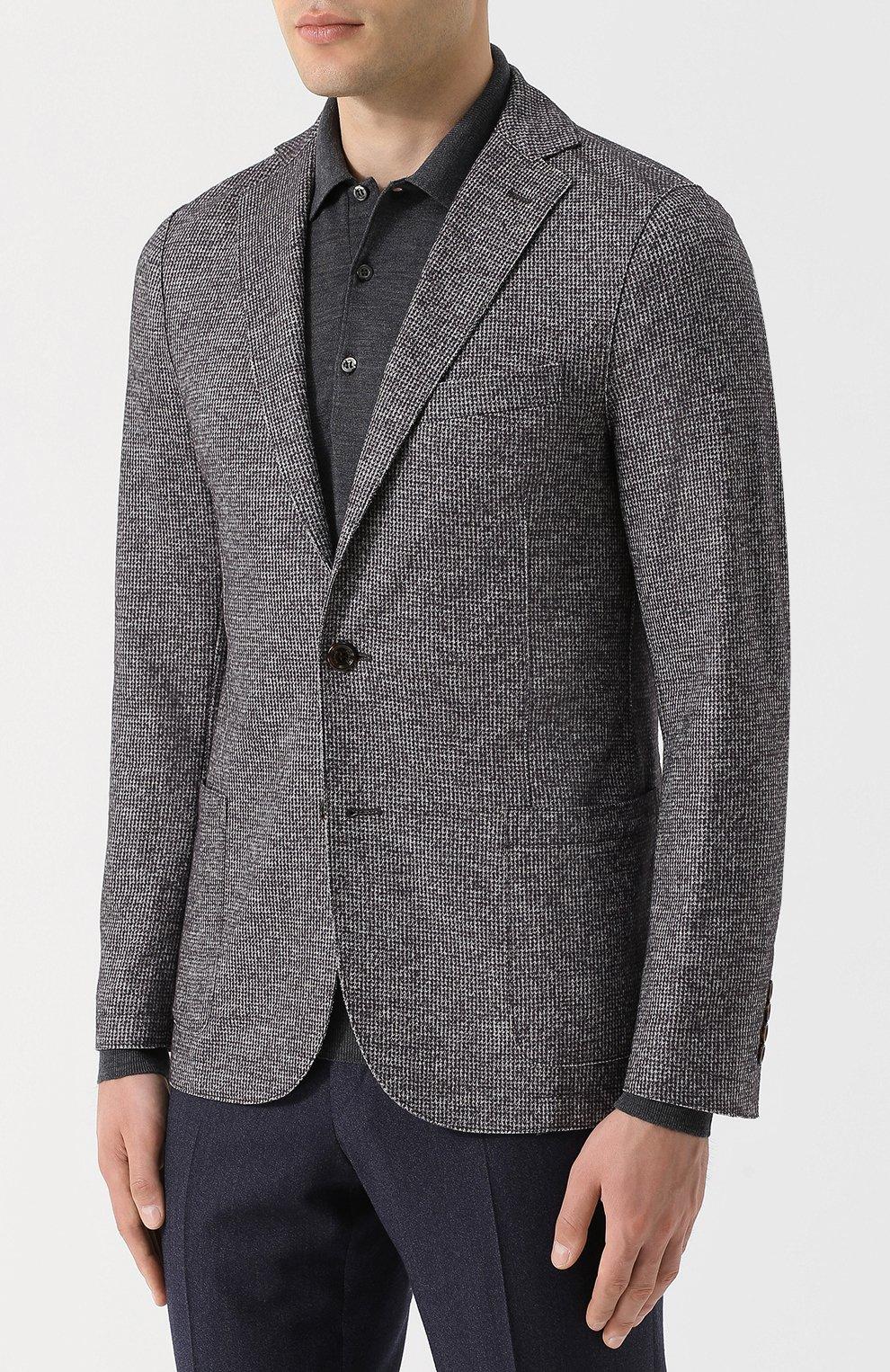 Мужской однобортный пиджак из смеси шерсти и хлопка ELEVENTY UOMO серого цвета, арт. 979JA3001 JAC26057   Фото 3