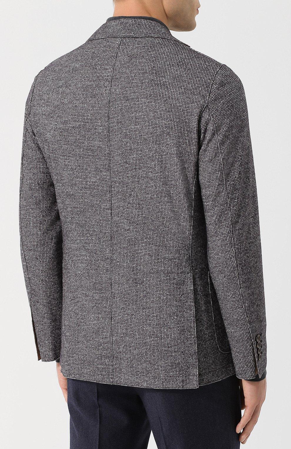 Мужской однобортный пиджак из смеси шерсти и хлопка ELEVENTY UOMO серого цвета, арт. 979JA3001 JAC26057   Фото 4