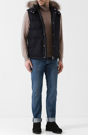 Шерстяной жилет на молнии с меховой отделкой капюшона Eleventy Platinum синий | Фото №1