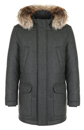 Шерстяная куртка на молнии с меховой отделкой капюшона | Фото №1