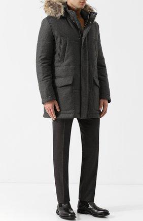 Шерстяная куртка на молнии с меховой отделкой капюшона | Фото №2