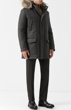 Шерстяная куртка на молнии с меховой отделкой капюшона Eleventy Platinum темно-серая | Фото №1