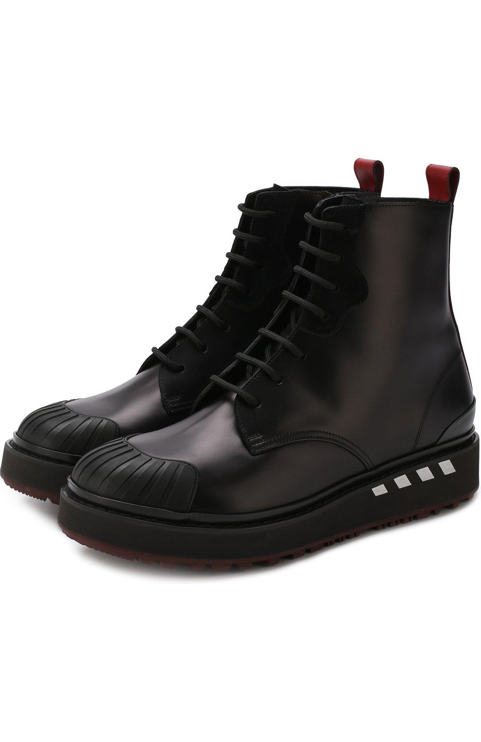 7fa3ed33aa6b Высокие кожаные ботинки Valentino Garavani на шнуровке с молнией   Фото №1