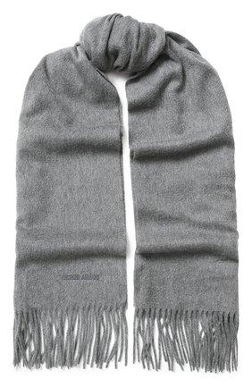 Мужской кашемировый шарф с бахромой GIORGIO ARMANI серого цвета, арт. 745208/8A130 | Фото 1