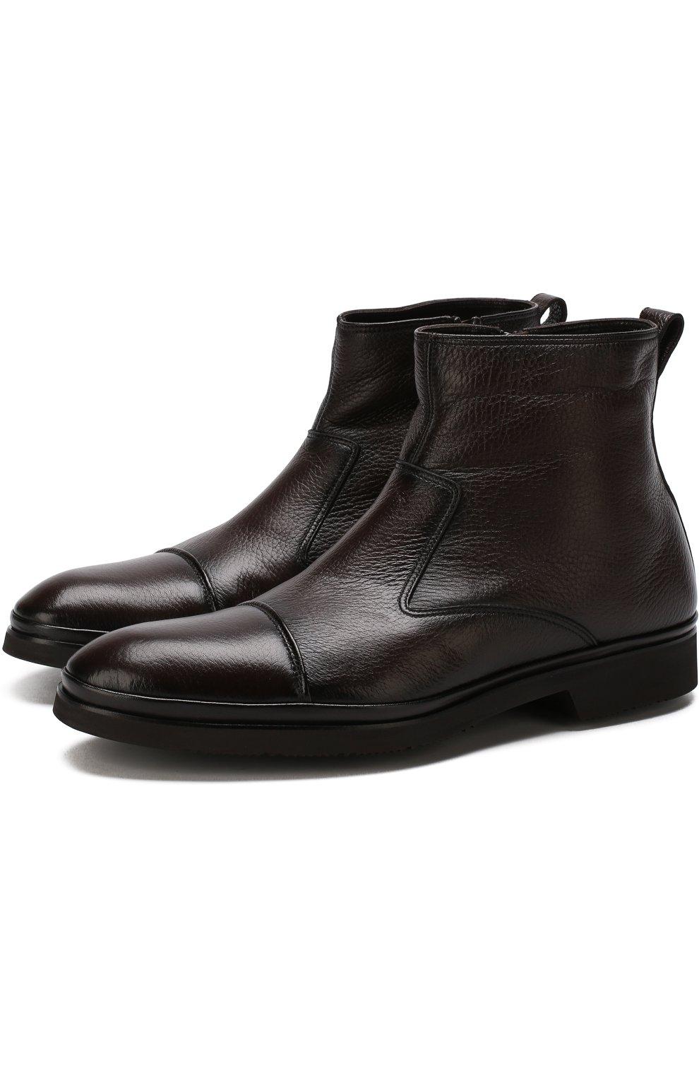 Высокие кожаные ботинки на молнии с внутренней меховой отделкой Aldo Brue коричневые   Фото №1