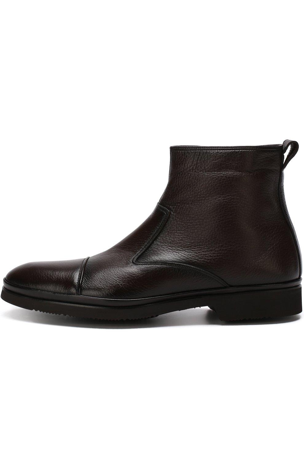Высокие кожаные ботинки на молнии с внутренней меховой отделкой Aldo Brue коричневые   Фото №3