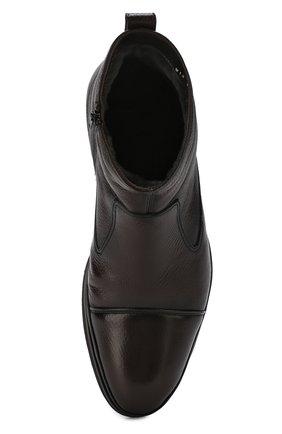 Высокие кожаные ботинки на молнии с внутренней меховой отделкой Aldo Brue коричневые   Фото №5