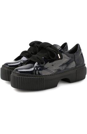 Лаковые кроссовки на шнуровке AGL темно-синие | Фото №1