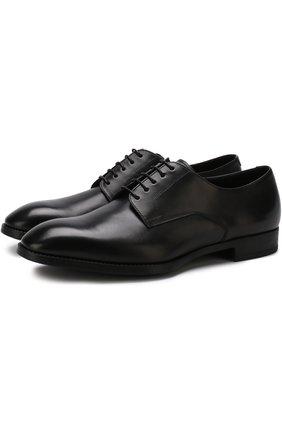 Мужские классические кожаные дерби GIORGIO ARMANI черного цвета, арт. X2C536/XAT29 | Фото 1