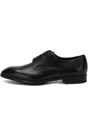 Мужские классические кожаные дерби GIORGIO ARMANI черного цвета, арт. X2C536/XAT29 | Фото 3