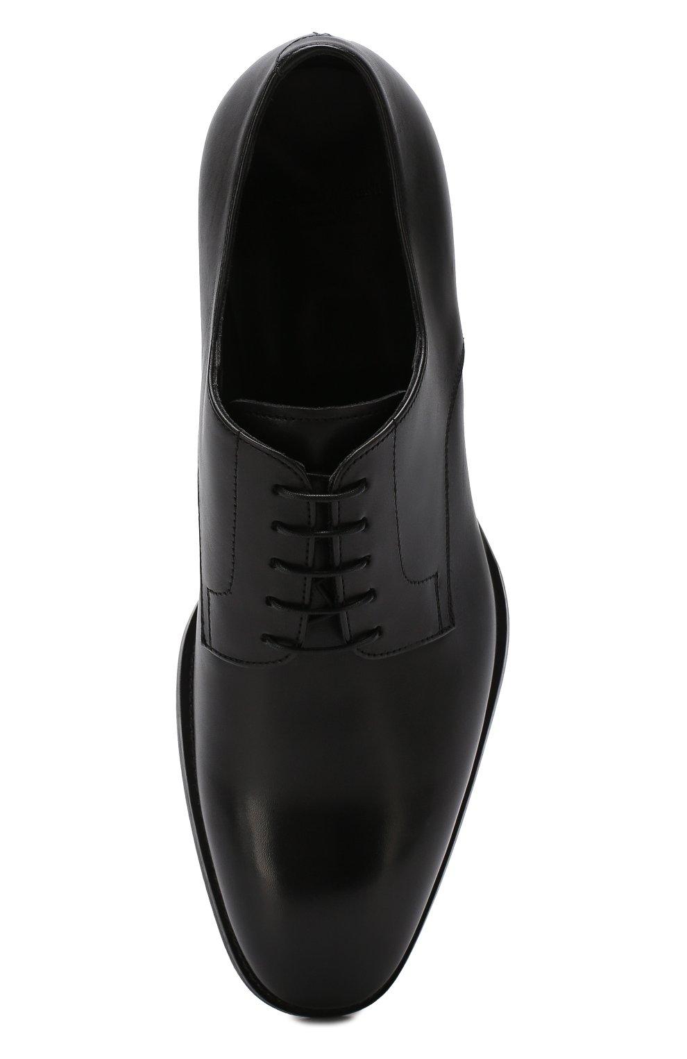 Мужские классические кожаные дерби GIORGIO ARMANI черного цвета, арт. X2C536/XAT29 | Фото 5
