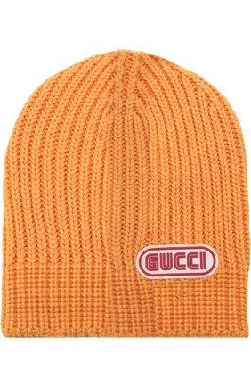 Мужская шерстяная шапка фактурной вязки с логотипом бренда GUCCI желтого цвета, арт. 519750/4G206 | Фото 1