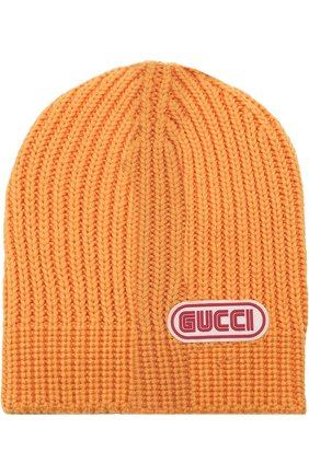 Шерстяная шапка фактурной вязки с логотипом бренда | Фото №1