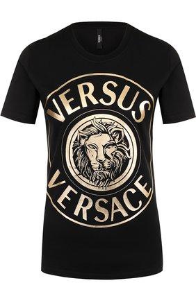 Хлопковая футболка с логотипом бренда Versus Versace разноцветная   Фото №1