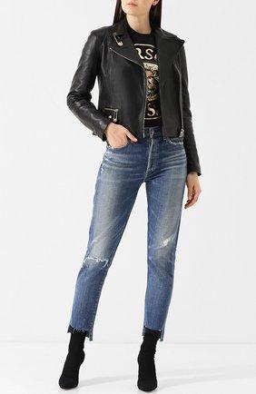 Кожаная куртка с косой молнией Versus Versace черная   Фото №1