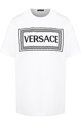 Хлопковая футболка с круглым вырезом и логотипом бренда Versace белая | Фото №1