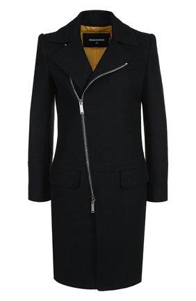 Однотонное шерстяное пальто с косой молнией Dsquared2 черного цвета | Фото №1
