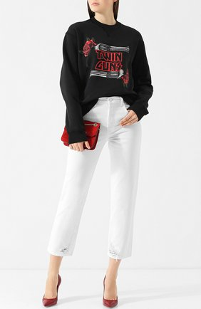 Хлопковый пуловер с круглым вырезом и принтом Dsquared2 черный | Фото №1