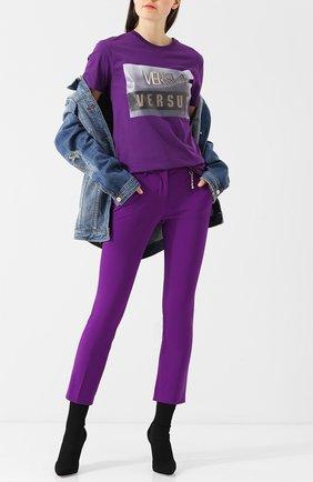 Хлопковая футболка с логотипом бренда Versus Versace фиолетовая   Фото №1