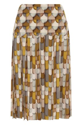 Шелковая юбка со складками и принтом | Фото №1