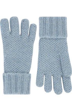 Детские кашемировые перчатки little crochet LORO PIANA голубого цвета, арт. FAF8480 | Фото 2