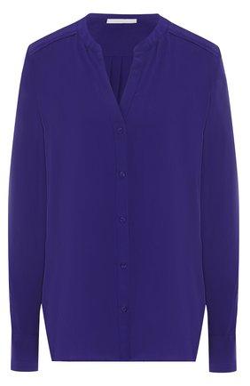 Однотонная шелковая блуза с вырезом | Фото №1