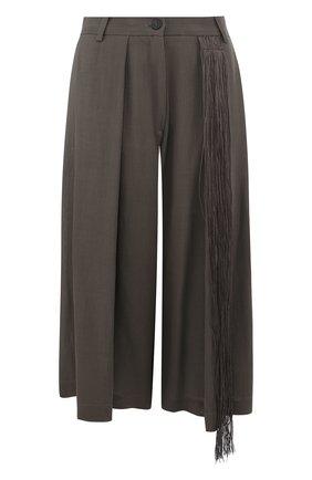 Однотонные укороченные брюки свободного кроя | Фото №1
