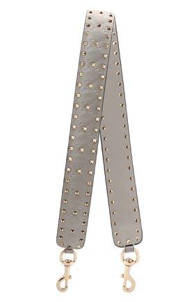 Женские кожаный ремень для сумки rockstud spike VALENTINO серого цвета, арт. QW1P0P37/NAP   Фото 1