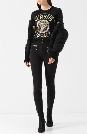 Однотонные брюки с завышенной талией и контрастными молниями Versus Versace черные   Фото №1