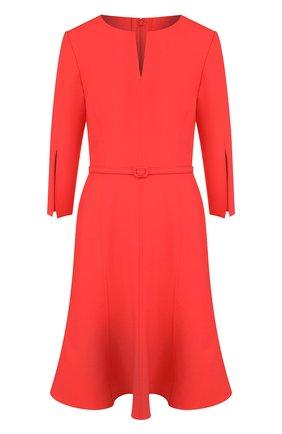 Однотонное шерстяное мини-платье с поясом | Фото №1
