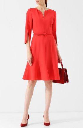 Однотонное шерстяное мини-платье с поясом Oscar de la Renta красное | Фото №1