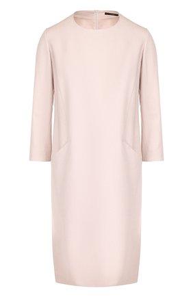 Однотонное платье с круглым вырезом и карманами Windsor светло-розовое | Фото №1