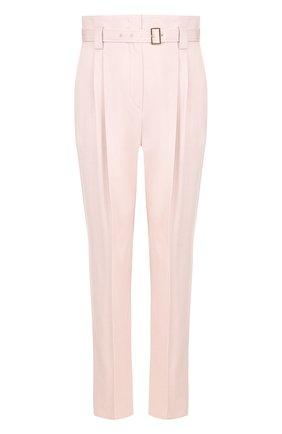 Однотонные брюки с завышенной талией и поясом Windsor светло-розовые | Фото №1