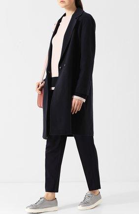 Однотонное шерстяное пальто прямого кроя Windsor темно-синего цвета | Фото №1