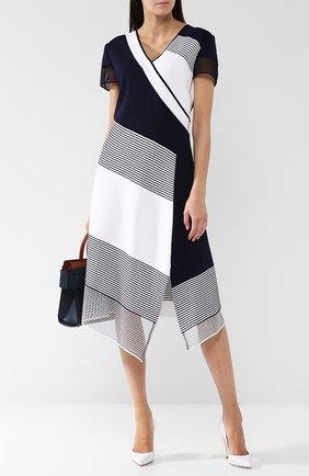 Платье-миди асимметричного кроя с разрезом St. John черно-белое | Фото №1