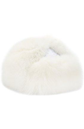Детского шапка-ушанка с меховой отделкой IL TRENINO белого цвета, арт. 18 7124/E0 | Фото 1